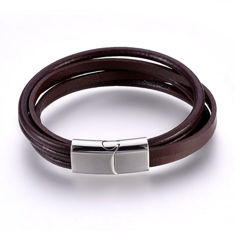 Round and Flat Brown 5 Multi-Cord Leather Bracelet - Bracelets - Rebel Road