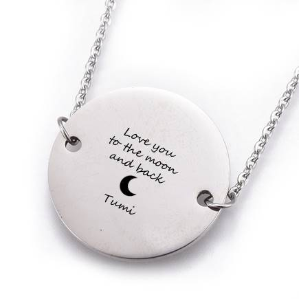 Round Ball Chain Engravable Steel Pendant Necklace
