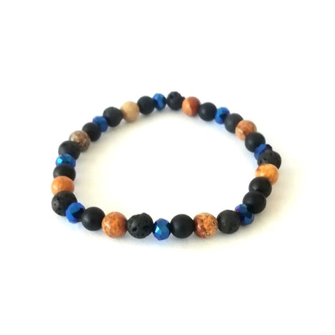 Royal Blue & Stone Lava Bead Bracelet