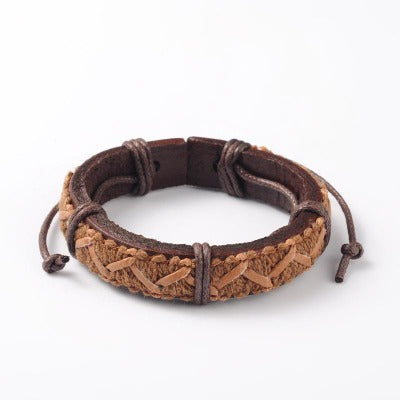 Sand Brown Intertwined Braided Leather Cord Bracelet