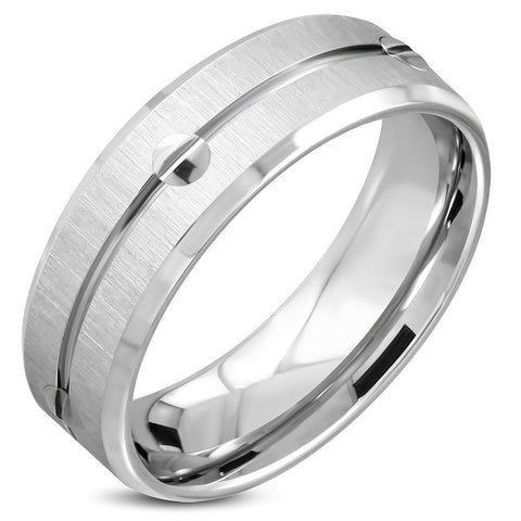 Satin Finished Screw Comfort Fit Half-Round Band Ring - Rings - Rebelroad.co.za