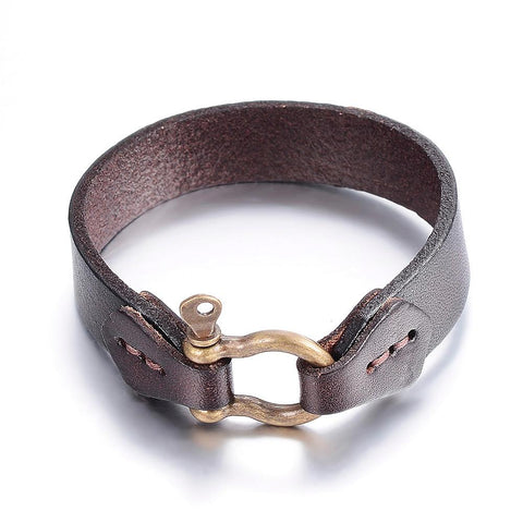 Screw Clasp Leather Bracelet - Bracelets - Rebel Road