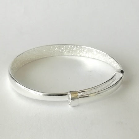 Silver Plated Bangle With Slide Adjustable Clasp