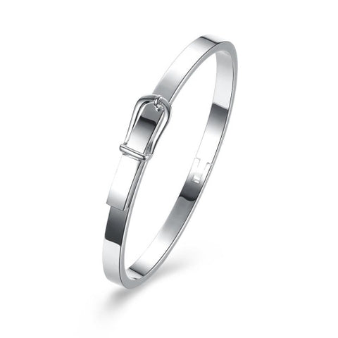 Silver Plated Brass Bangle With unique Buckle clasp