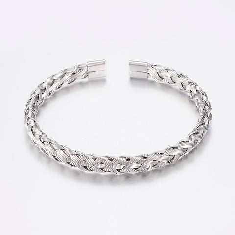 Silver Braided Wire Cuff Stainless Steel Bracelet - Bracelets - Rebel Road