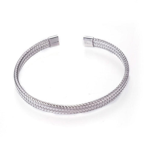 Silver Cuff Cable Stainless Steel Bracelet - Bracelets - Rebel Road