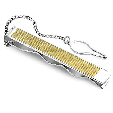 Silver and Gold Sleek Tie Clip