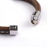 Simple Stitched Brown Leather Bracelet - Bracelets - Rebelroad.co.za