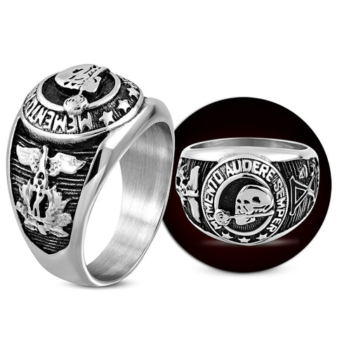 Skull Rose Eagle Signet Biker Ring - Rings - Rebelroad.co.za