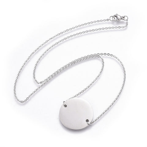 Small Round Engravable Steel Pendant Necklace - Neckwear - Rebelroad.co.za