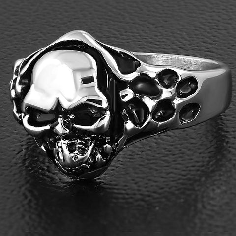 Snake Skull Biker Ring - Rings - Rebelroad.co.za