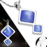 Square Blue Cat Eye Stone Pendant Chain Necklace - Neckwear - Rebelroad.co.za
