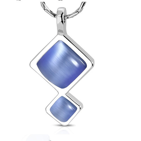 Square Cat Eye Stone Pendant Chain Necklace - Neckwear - Rebelroad.co.za