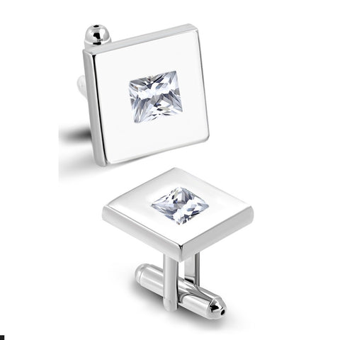 Square Cufflinks With Clear CZ stones