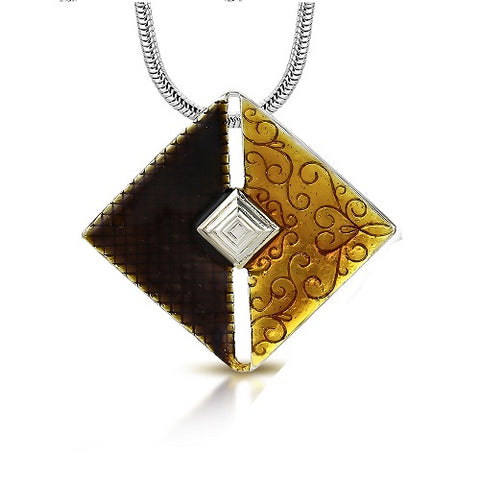 Square Metallic Glass Resin Pendant Necklace - Neckwear - Rebelroad.co.za