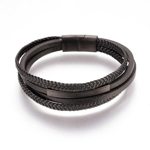 Stacked Black & Dark Brown-Tone Weaved Leather ID Bracelet - Bracelets - Rebelroad.co.za