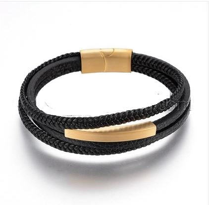 Stacked Black & Gold-Tone Weaved Leather ID Bracelet - Bracelets - Rebelroad.co.za