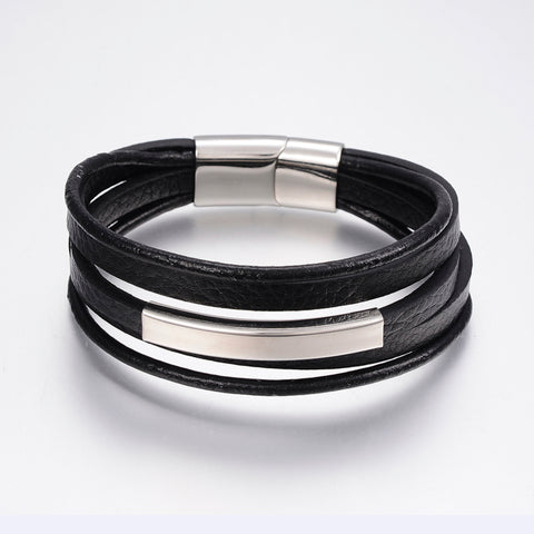 Stacked Multi-strand Black & Steel-Tone Leather ID Bracelet - Bracelets - Rebelroad.co.za