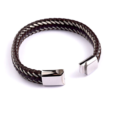 Steel & Leather Braided Bracelet - Bracelets - Rebel Road