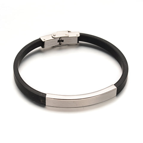 Steel Tube ID PU Leather Bracelet - Bracelets - Rebelroad.co.za