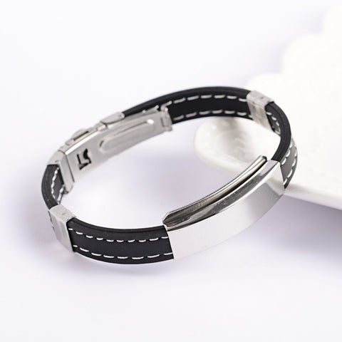 Stitched Black PU Leather ID Bracelet - Bracelets - Rebelroad.co.za