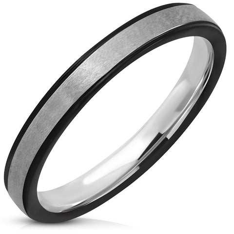 Striped Comfort Fit Matte steel Flat Band Ring - Rings - Rebelroad.co.za