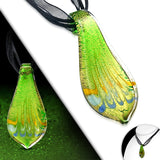 Teardrop Boro Glass Autumn Leaf Pendant Cord Necklace - Neckwear - Rebelroad.co.za