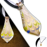 Teardrop Boro Golden Glass Autumn Leaf Pendant Cord Necklace - Neckwear - Rebelroad.co.za