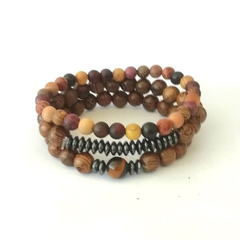 Terra Wood Bead Bracelet Set