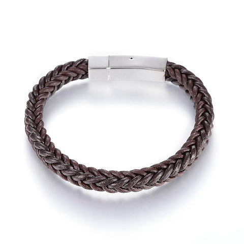 The Square Brown Braided Bracelet - Bracelets - Rebelroad.co.za