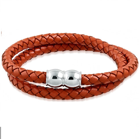 Thick Red Brown Braided Leather Double Wrap Bracelet