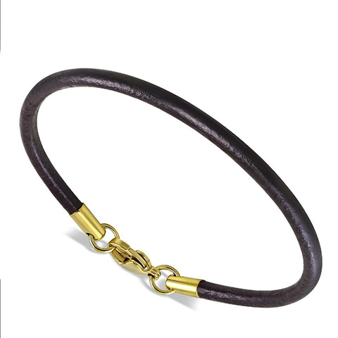 Thin Round Brown Leather Bracelet