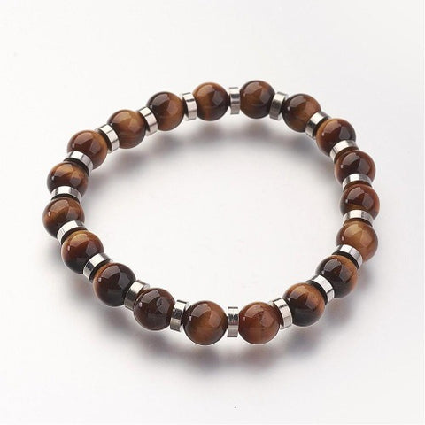 Tiger Eye Bead with Silver Charm Bracelet