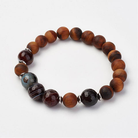 Tiger Eye & Agate Bead Bracelet - Bracelets - Rebelroad.co.za
