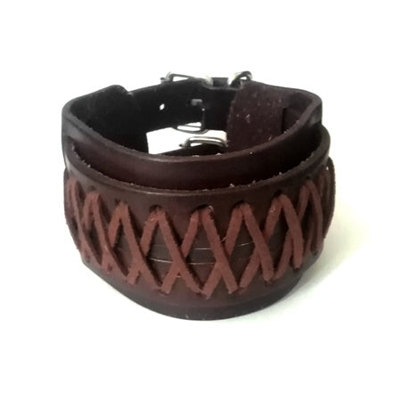 Triple Layer Wide Weaved Brown Leather Bracelet
