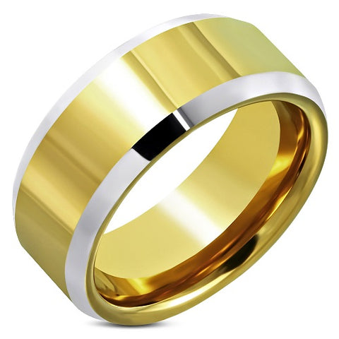 Tungsten Carbide 2-Tone Beveled Edge Wedding Band Ring - Rings - Rebelroad.co.za