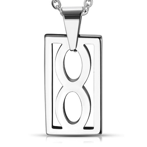 Tungsten Carbide Cut-out Infinity Tag Charm Pendant - Pendants - Rebelroad.co.za