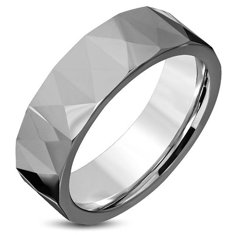 Tungsten Carbide Faceted Comfort Band Ring - Rings - Rebelroad.co.za