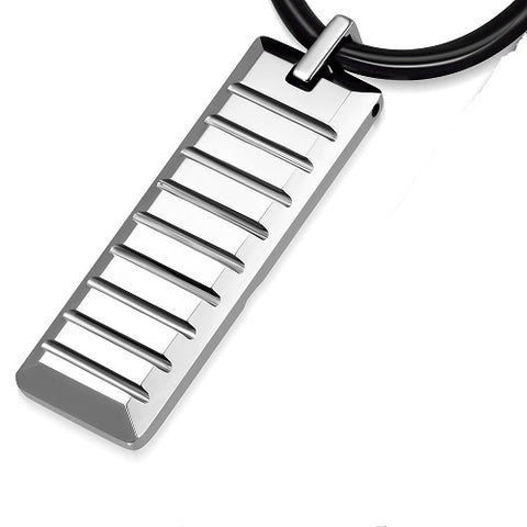 Tungsten Grooved Tag Charm Cord Necklace