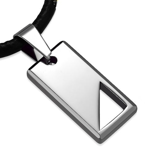 Tungsten Carbide Triangle Engravable Tag Charm leather Necklace