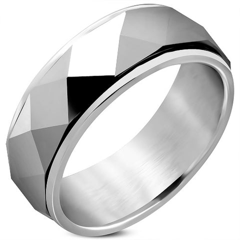 Tungsten Faceted Dome Pyramid Spinning Half-Round Band Ring - Rings - Rebelroad.co.za
