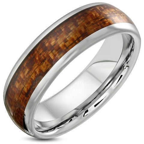 Tungsten Half-Round Wood Inlay Ring - Rings - Rebelroad.co.za