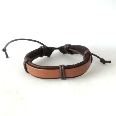 Two Tone Tan Leather Cord Bracelet