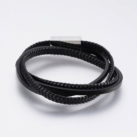 Two Cord Double Wrap Black Leather Bracelet - Bracelets - Rebelroad.co.za