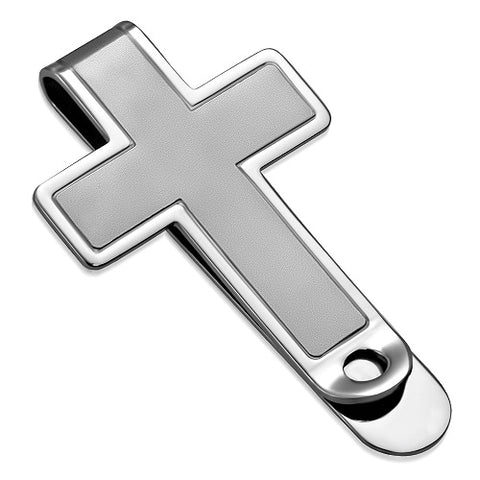 Two Tone Stainless Cross Hinged Slim Money Clip