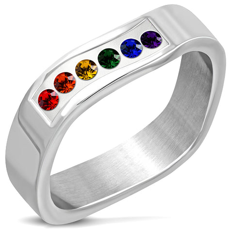 Wavy Band Ring With Multi Colour Cubic Zirconia Stones - Rings - Rebelroad.co.za