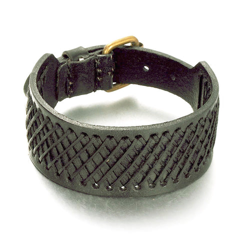 Wide Weaved Black Bracelet - Bracelets - Rebel Road
