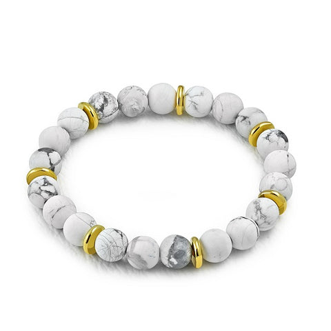 White Howlite Bead Stretch Bracelet