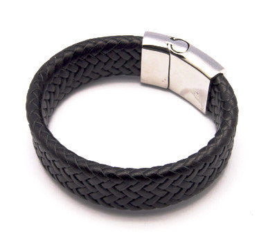 Wide Braided Leather Bracelet - Bracelets - Rebel Road