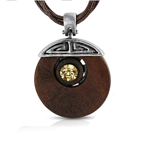 Wooden Round Circle Pendant & Cord Necklace - Neckwear - Rebelroad.co.za